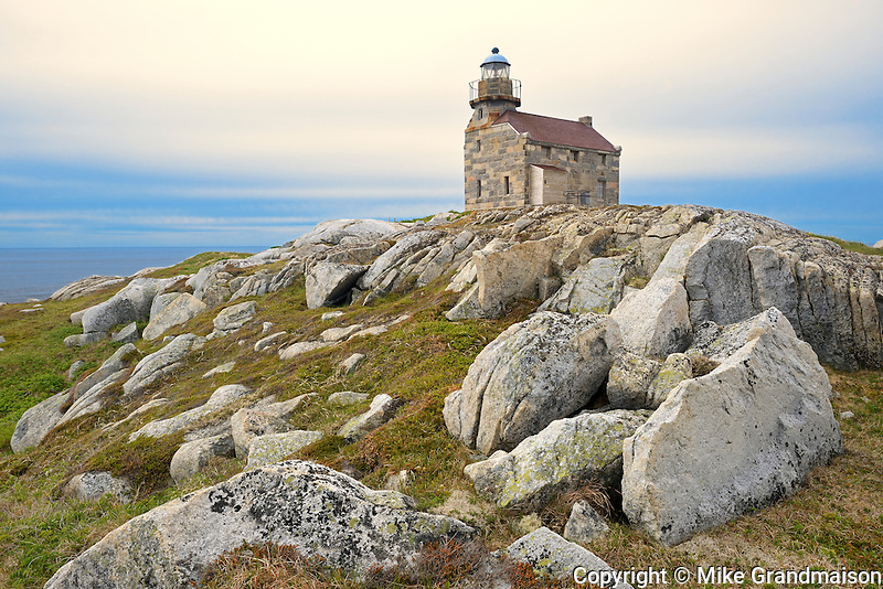 Restored granite lighthouse on the Atlantic Ocean<br /> Rose Blanche<br /> Newfoundland &amp; Labrador<br /> Canada