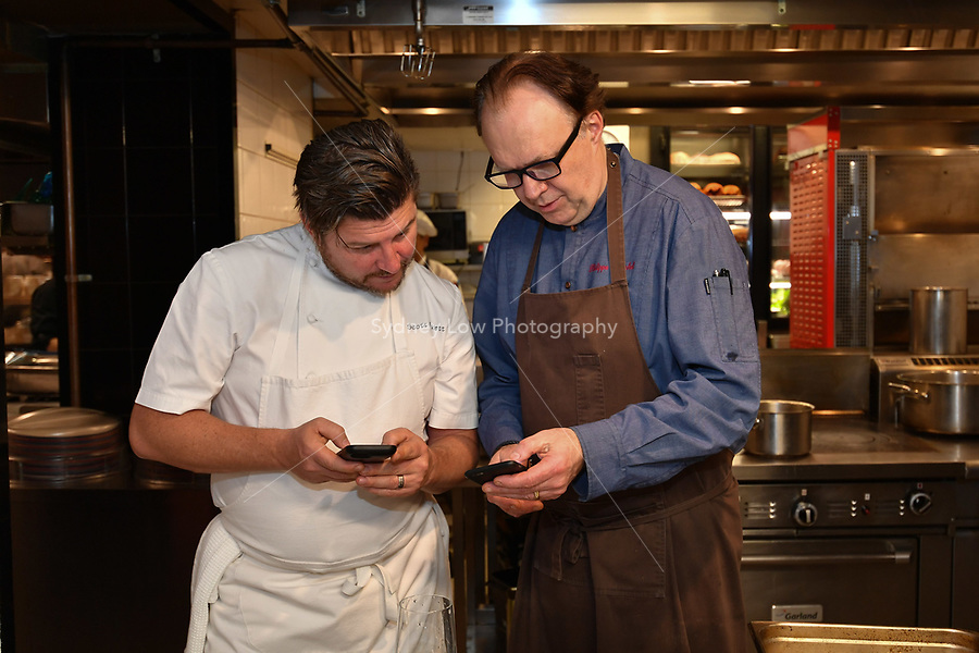 MELBOURNE, 30 June 2017 – Scott Pickett and Philippe Mouchel prior to a dinner celebrating Philippe Mouchel's 25 years in Australia with six chefs who worked with him in the past at Philippe Restaurant in Melbourne, Australia.