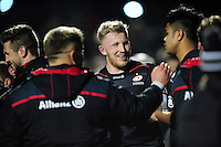 Jackson Wray of Saracens is all smiles after the match. Anglo-Welsh Cup match, between Saracens and Leicester Tigers on February 5, 2017 at Allianz Park in London, England. Photo by: Patrick Khachfe / JMP