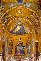 Medieval Byzantine style mosaics of Christ Pantocrator above the altar of the Palatine Chapel, Cappella Palatina, Palermo, Italy