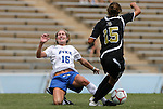28 August 2009: Duke's Elisabeth Redmond (16) and Central Florida's Katie Jackson (15) challenge for the ball. The Duke University Blue Devils lost 3-2 to the University of Central Florida Knights at Fetzer Field in Chapel Hill, North Carolina in an NCAA Division I Women's college soccer game.