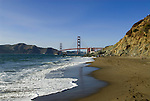 San Francisco: Baker Beach with Golden Gate Bridge in background.  Photo # 2-casanf83773.  Photo copyright Lee Foster
