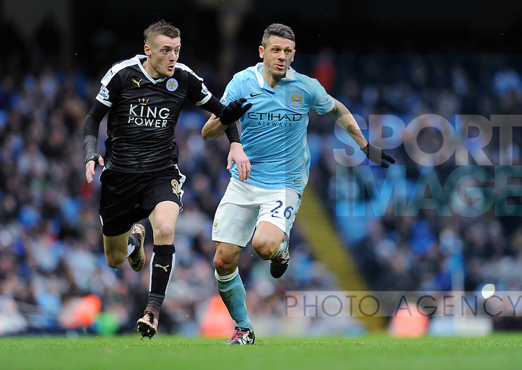 Jamie Vardy of Leicester City is challenged by Martin Demichelis of Manchester City<br /> - Barclays Premier League - Manchester City vs Leicester City - Etihad Stadium - Manchester - England - 6th February 2016 - Pic Robin Parker/Sportimage