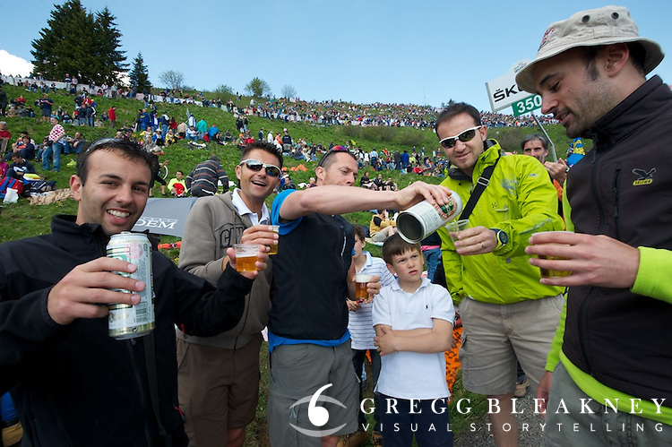There was a fair share of beer drinking on the Zoncolan today, making the descent for enthusiast riders quite a challenge.