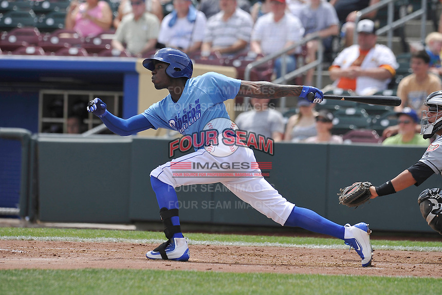 Omaha Storm Chasers Orlando Calixte (3) swings during the game against the El Paso Chihuahuas at Werner Park on May 30, 2016 in Omaha, Nebraska.  El Paso won 12-0.  (Dennis Hubbard/Four Seam Images)