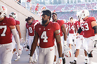 Stanford, CA - September 8, 2018: Stanford exits the field after warming up before the start of the the Stanford vs USC football game Saturday night at Stanford Stadium.<br /> <br /> Score was USC3, Stanford 17.
