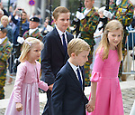 Prince Emmanuel, Princess Eleonore, Prince Gabriel, Crown Princess Elisabet arrive on the Te Deum mass, on the occasion of today's Belgian National Day, at the Saint Michael and St Gudula Cathedral <br /> Brussels, 21 July 2015, Belgium