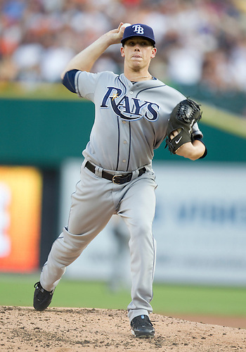 August 10, 2010: Tampa Bay Rays starting pitcher Jeremy Hellickson (#58) delivers pitch during game action between the Tampa Bay Rays and the Detroit Tigers at Comerica Park in Detroit, Michigan.  The Rays defeated the Tigers 8-0.
