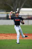 Steven Medina (9) of Coral Gables, Florida during the Baseball Factory All-America Pre-Season Rookie Tournament, powered by Under Armour, on January 13, 2018 at Lake Myrtle Sports Complex in Auburndale, Florida.  (Michael Johnson/Four Seam Images)