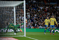 Real Madrid's  and UD Las Palmas' Raul Lizoain, Pedro Bigas and Dani Castellano during La Liga match. November 5,2017. (ALTERPHOTOS/Inma Garcia)