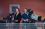 Stockholm 2014-10-22 Handboll Elitserien Hammarby IF - IK S&auml;vehof :  <br /> TV-kameror p&aring; pressl&auml;ktaren i Eriksdalshallen under matchen mellan Hammarby IF och IK S&auml;vehof <br /> (Foto: Kenta J&ouml;nsson) Nyckelord:  Eriksdalshallen Hammarby HIF HeIF Bajen IK S&auml;vehof TV TV4 kamera kameror