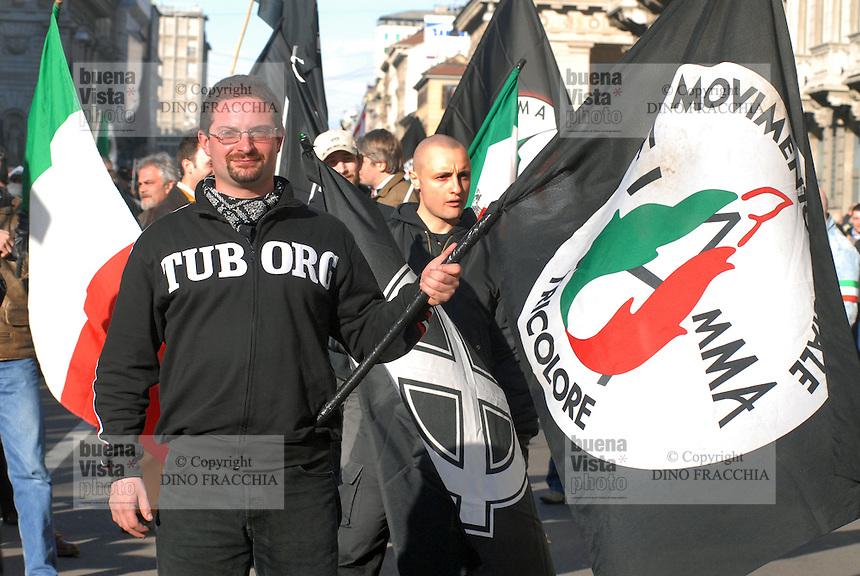 """- demonstration of the neonazi group """"Fiamma Tricolore""""..- manifestazione del gruppo neonazista """"Fiamma Tricolore"""""""
