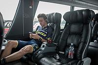 Adam Yates (GBR/Orica-Scott) relaxing on the teambus pre-race<br /> <br /> 98th Milano - Torino 2017 (ITA) 186km