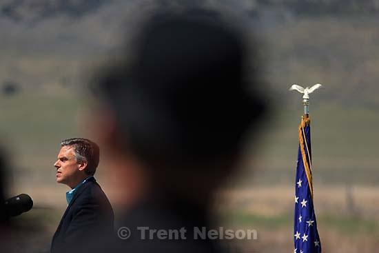 Utah Governor Jon Huntsman, Jr., announced the design for the Utah quarter at the Golden Spike National Historic Site Wednesday.. 5.10.2006<br />