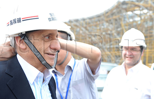 Sep 13, 2010; Shanghai, CHINA; FINA President Julio Maglione visits the construction site of the Shanghai Oriental Sport Center for the 14th FINA World Championships Shanghai 2011.