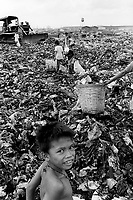 Philippines. National Capital Region. Manila. Paradise village. Children working as scavengers on the dumpsite. A landfill site (also known as tip, dump or rubbish dump and historically as a midden) is a site for the disposal of waste materials by burial and is the oldest form of waste treatment. Paradise village has a population of 15'000 people and is a part of Barangay Tonsuya situated on Lettre Road in Malabon. Manila is part of the National Capital Region (NCR) on Luzon island. Manila is the capital of the Philippines and one of the sixteen cities that comprise Metro Manila. Metro Manila is the most populous metropolitan area in the Philippines. © 1999 Didier Ruef