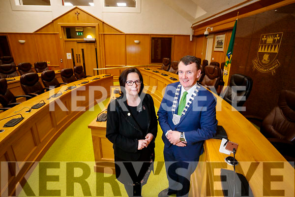 Chief Executive Moira Murrell and Mayor of Kerry Cllr John Sheahan pictured at Kerry County Council.