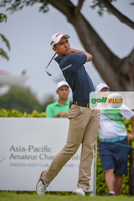 Naraajie Emerald RAMADHAN (INA) watches his tee shot on 12 during Rd 4 of the Asia-Pacific Amateur Championship, Sentosa Golf Club, Singapore. 10/7/2018.<br /> Picture: Golffile | Ken Murray<br /> <br /> <br /> All photo usage must carry mandatory copyright credit (© Golffile | Ken Murray)