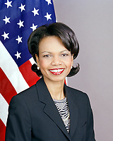 May 3, 2005 File Photo - <br /> <br /> Condoleezza Rice official portrait.<br /> <br /> Condoleezza Rice (born November 14, 1954) is the 66th United States Secretary of State, and the second in the administration of President George W. Bush to hold the office. Rice is the first black woman, second African American (after her predecessor Colin Powell, who served from 2001 to 2005), and the second woman (after Madeleine Albright, who served from 1997 to 2001 in the Clinton Administration) to serve as Secretary of State. Rice was President Bush's National Security Advisor during his first term. Before joining the Bush administration, she was a professor of political science at Stanford University where she served as Provost from 1993 to 1999. During the administration of George H.W. Bush, Rice served as the Soviet and East European Affairs Advisor during the dissolution of the Soviet Union and German reunification.<br /> <br /> When beginning as Secretary of State, Rice pioneered a policy of Transformational Diplomacy, with a focus on democracy in the greater Middle East. Her emphasis on supporting democratically elected governments faced challenges as Hamas captured a popular majority in Palestine yet supported Islamist terror, and influential countries including Saudi Arabia and Egypt maintained authoritarian systems with US support. She chairs the Millennium Challenge Corporation's board of directors.