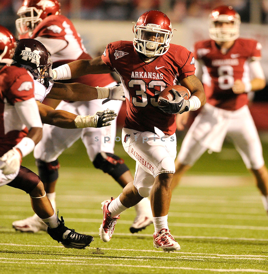 Arkansas Razorbacks Dennis Johnson (33) in action during a game against Alabama on September 25, 2010 at Razorback Stadium in Fayetteville, AR. Alabama beat Arkansas 24-20.