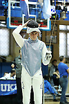 11 February 2017: Duke's Eoin Gronningsater prepares for Foil. The Duke University Blue Devils hosted the Boston College Eagles at Card Gym in Durham, North Carolina in a 2017 College Men's Fencing match. Duke won the dual match 18-9 overall, 9-0 Foil, and 6-3 Saber. Boston College won Epee 6-3.