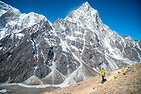 Hiking on Cho La Pass with Cholatse high above, Nepal