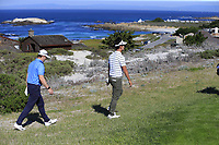 Kevin Na (USA) and NFL San Francisco 49rs former quarterback Steve Young walk off the 4th tee at Spyglass Hill during Thursday's Round 1 of the 2018 AT&amp;T Pebble Beach Pro-Am, held over 3 courses Pebble Beach, Spyglass Hill and Monterey, California, USA. 8th February 2018.<br /> Picture: Eoin Clarke | Golffile<br /> <br /> <br /> All photos usage must carry mandatory copyright credit (&copy; Golffile | Eoin Clarke)