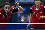 Glasgow 2014 Commonwealth Games<br /> Megan Phillips & Angahard Phillips in the doubles against Vanuatu.<br /> Scotstoun Table Tennis<br /> <br /> 25.07.14<br /> ©Steve Pope-SPORTINGWALES