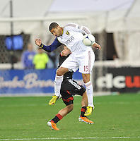 Alvaro Saborio (15) of  Real Salt Lake goes up to head the ball. D.C. United defeated Real Salt Lake 1-0 in their home opener, at RFK Stadium, Saturday March 9, 2013.