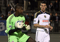 Bill Hamid(28) of D.C. United makes a save in front of Sebastian Le Toux(9) of the Philadelphia Union during a play-in game for the US Open Cup tournament at Maryland Sportsplex, in Boyds, Maryland on April 6 2011. D.C. United won 3-2 after overtime penalty kicks.
