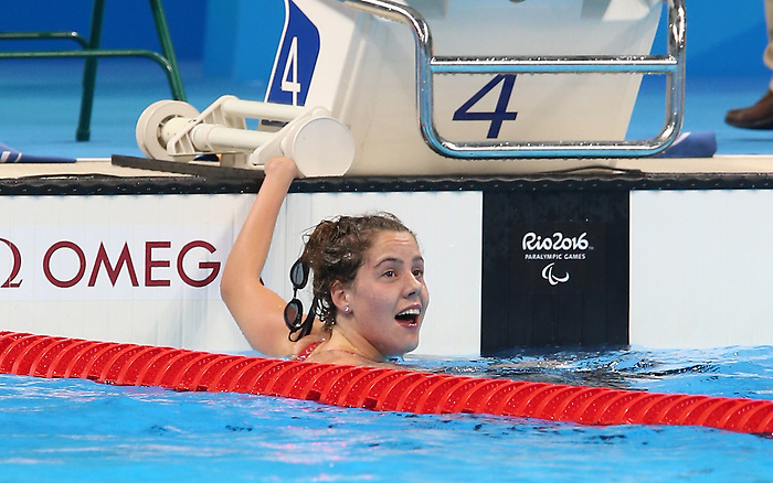 Rio de Janeiro-9/9/2016- Aurelie Rivard wins gold in the women's 50m freestyle at the 2016 Paralympic Games in Rio. Photo Scott Grant/Canadian Paralympic Committee