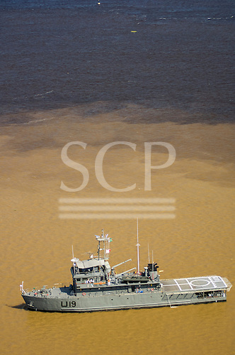 Manaus, Brazil. Military medical ship with heliport. Meeting of the Waters of the Rivers Solimoes and Negro (Encontro das Aguas).