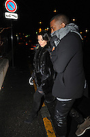 Kim Kardashian and Kanye West enjoy a romantic diner in Paris - France