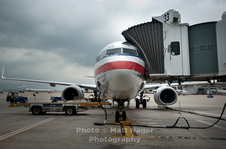 An American Airlines 777 plane prepares for takeoff at Dallas-Fort Worth International Airport (DFW) in Dallas, Texas, Friday, May 14, 2010. ..PHOTO: MATT NAGER