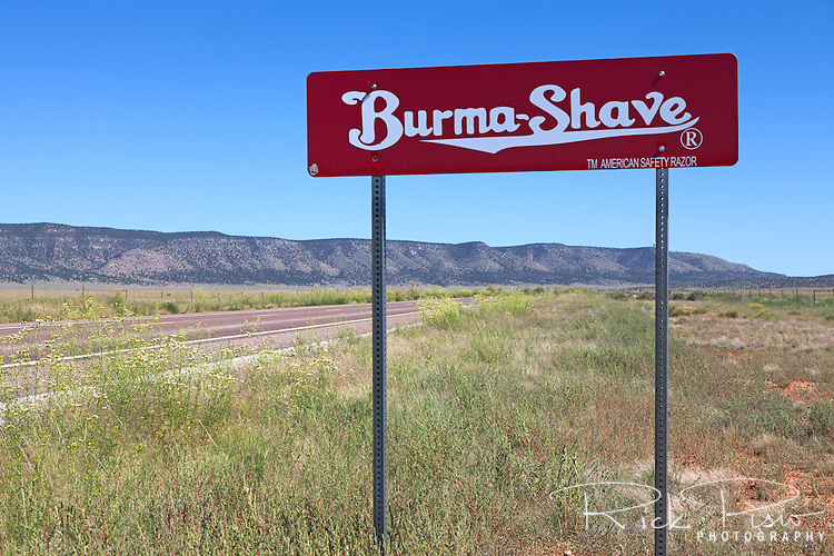 A recreation of the iconic Burma Shave sign stands along Hwy 66 in Arizona. The roadside advertising started in 1925 and was discontinued in 1963 when the Burma-Vita company was sold to Philip Morris. Ironically the signs were never placed in Arizona, or New Mexico and Nevada, as the road traffic was deemed insufficient.