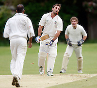 B Fulton despair after being clean bowled by Wembley's A Mohammed during the Middlesex County Cricket League Division Three game between Hornsey and Wembley at Tivoli Road, Crouch End, London on Sat May 29, 2010