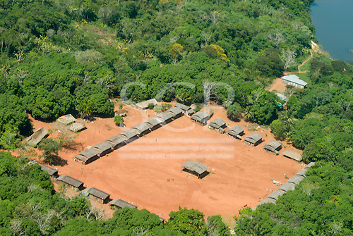 Pará State, Brazil. Aerial view of A-Ukre village.