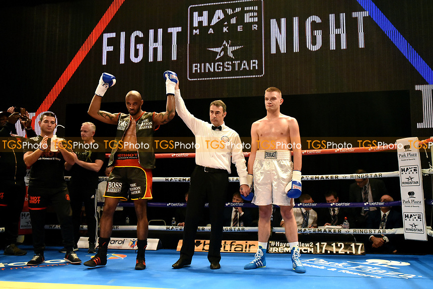 Duane Sinclair (black/red shorts) defeats Mislav Milodovic during a Boxing Show at Indigo at the O2 on 20th October 2017