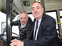 First Minister Alex Salmond hops on a no. 254 to chat to bus Driver Ray Stubbs, 56, whilst on the campaign trail in Ellon.