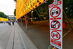 Organizers put notices in various places to prohibit drones, music and alcohol during the annual ''Mitama Festival'' at Yasukuni Shrine on July, 13, 2017, Tokyo, Japan. Over 30,000 lanterns are displayed along the entrance of the shrine to help spirits find their way during the annual celebration for the spirits of ancestors. The festival runs until July 16th. (Photo by Rodrigo Reyes Marin/AFLO)