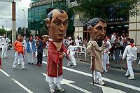 Fiesta San Fermin, Cabezudos ( Großkopfpuppen), Pamplona, Navarra, Spanien
