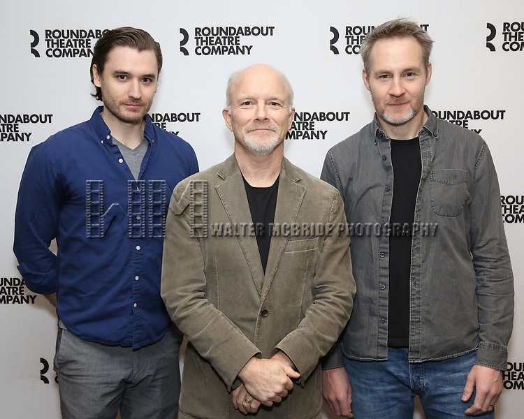 """Seth Numrich, Dan Butler and Peter McDonald attends the """"Travesties"""" Meets The Press on March 6, 2018 at the Roundabout Theatre in New York City."""