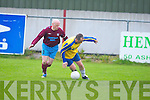 Claasic FC's Damien Reid and Spa Road FC's Dan Crotty in action in the premier B Final at Mounthawk park, Tralee on Friday...