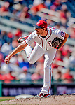 23 August 2018: Washington Nationals pitcher Max Scherzer on the mound against the Philadelphia Phillies at Nationals Park in Washington, DC. The Phillies shut out the Nationals 2-0 to take the 3rd game of their 3-game mid-week divisional series. Mandatory Credit: Ed Wolfstein Photo *** RAW (NEF) Image File Available ***