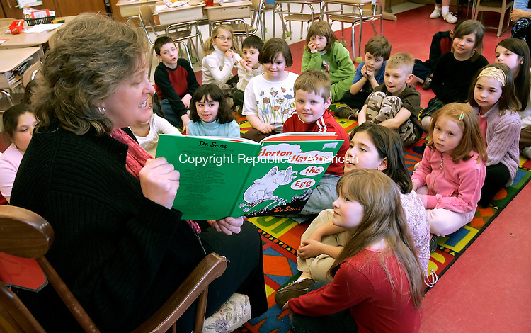 THOMASTON, CT--05 March 2007--030507JS01-Thomaston First Selectman Maura E. Martin reads Dr. Seuss' 'Horton Hatches the Egg' to students in Debra Gritt's second grade class at Black Rock School in Thomaston as part of the school's guest reader program. <br /> Jim Shannon / Republican-American