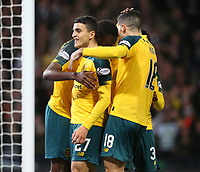 2nd November 2019; Hampden Park, Glasgow, Scotland; Scottish League Cup Football, Hibernian versus Celtic; Mohamed Elyounoussi of Celtic celebrates with his team mates after scoring in the 44th minute to make it 3-1 - Editorial Use