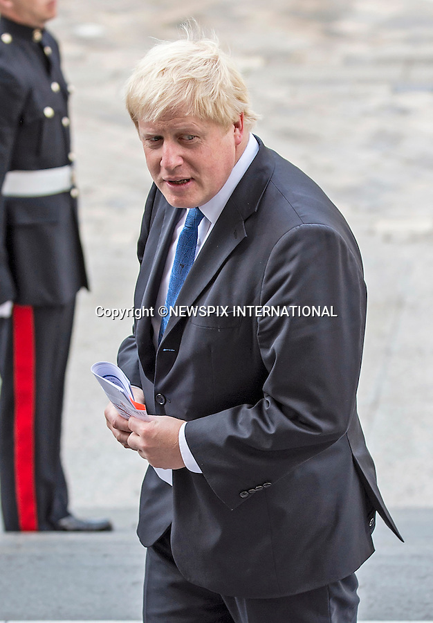 18.06.2015; London, UK: BORIS JOHNSON<br /> attended a service of commemoration at St Paul&rsquo;s Cathedral to mark the 200th Anniversary of the Battle of Waterloo. <br /> Mandatory Credit Photo: &copy;MoD/NEWSPIX INTERNATIONAL<br /> <br /> (Failure to credit will incur a surcharge of 100% of reproduction fees)<br /> IMMEDIATE CONFIRMATION OF USAGE REQUIRED:<br /> Newspix International, 31 Chinnery Hill, Bishop's Stortford, ENGLAND CM23 3PS<br /> Tel:+441279 324672  ; Fax: +441279656877<br /> Mobile:  07775681153<br /> e-mail: info@newspixinternational.co.uk<br /> **ALL FEES PAYABLE TO: &quot;NEWSPIX  INTERNATIONAL&quot;**