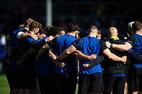 The Bath Rugby team huddle together prior to the match. Gallagher Premiership match, between Exeter Chiefs and Bath Rugby on March 24, 2019 at Sandy Park in Exeter, England. Photo by: Patrick Khachfe / Onside Images
