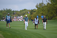 Jordan Spieth (USA) and Jhonattan Vegas (VEN) make their way down 1 during day 1 of the Valero Texas Open, at the TPC San Antonio Oaks Course, San Antonio, Texas, USA. 4/4/2019.<br /> Picture: Golffile | Ken Murray<br /> <br /> <br /> All photo usage must carry mandatory copyright credit (© Golffile | Ken Murray)