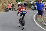 Hermann Pernsteiner (AUT) Bahrain-Merida on the final Cat 1 climb up to Observatorio Astrofisico de Javalambre during Stage 5 of La Vuelta 2019 running 170.7km from L'Eliana to Observatorio Astrofisico de Javalambre, Spain. 28th August 2019.<br /> Picture: Eoin Clarke | Cyclefile<br /> <br /> All photos usage must carry mandatory copyright credit (© Cyclefile | Eoin Clarke)